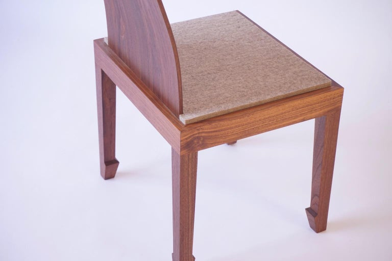 Solid Back Walnut Chinese Dining Chair with Felt Cushion  For Sale 2