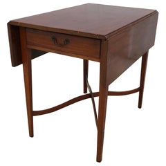 Walnut Chippendale Pembroke Table Tapered Legs, Arched Stretcher Pennsylvania
