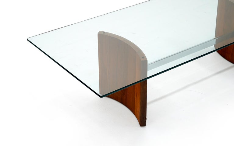 Mid-Century Modern Walnut, Chrome and Glass Coffee Table by Vladimir Kagan for Selig, 1960s For Sale