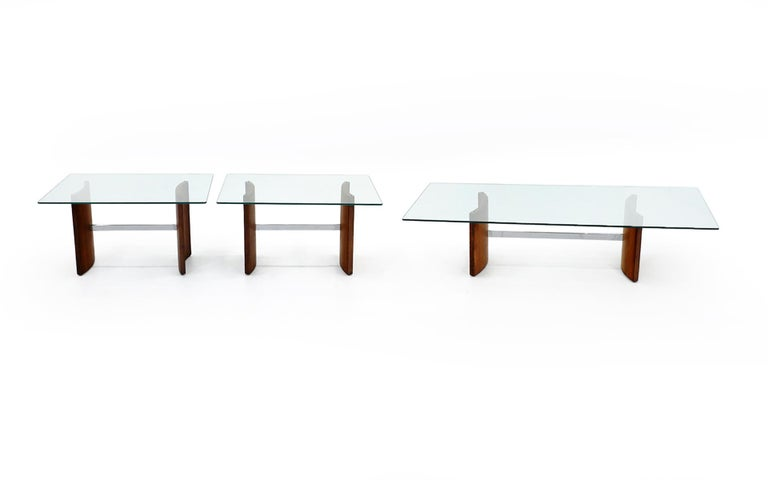 Mid-20th Century Walnut, Chrome and Glass Coffee Table by Vladimir Kagan for Selig, 1960s For Sale