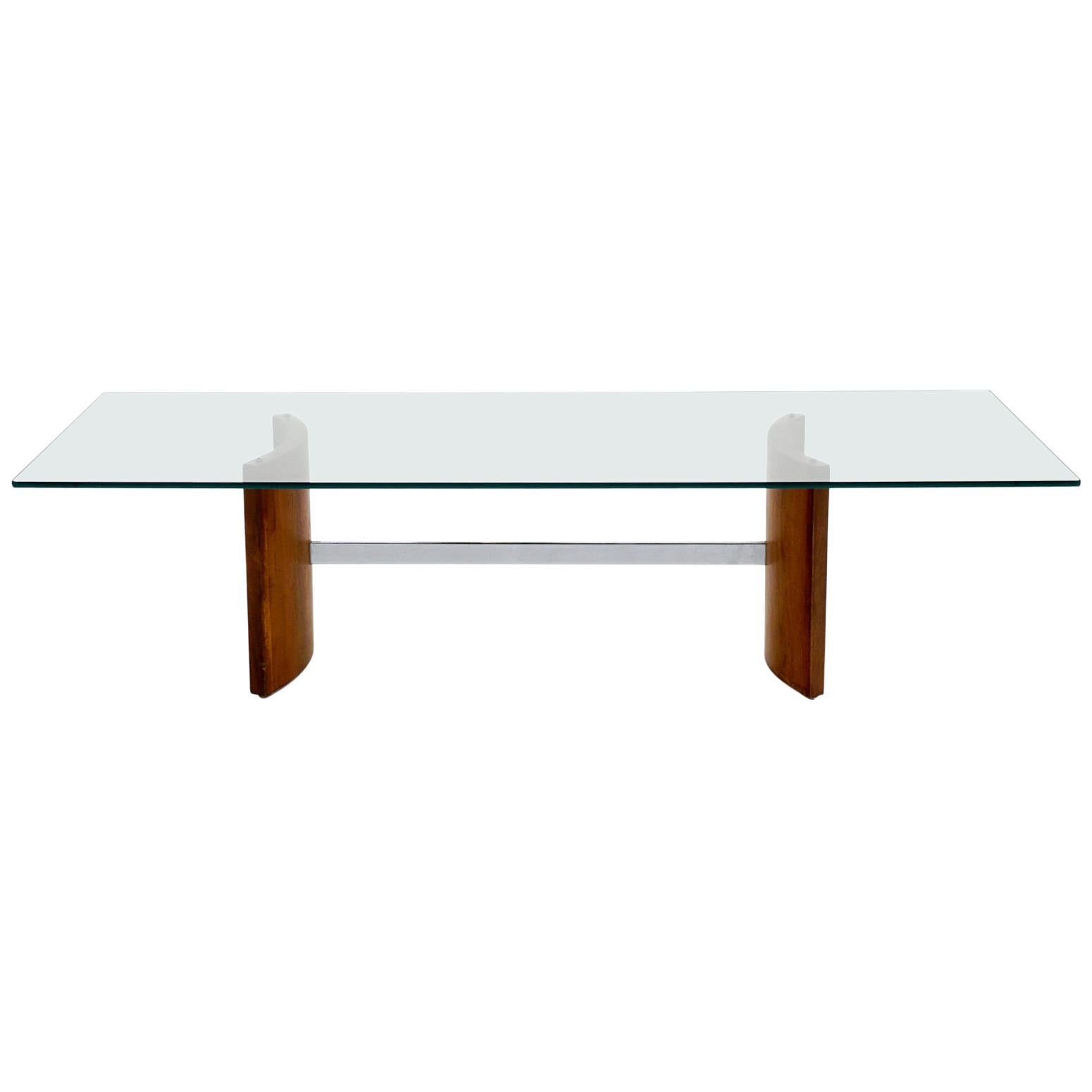 Walnut, Chrome and Glass Coffee Table by Selig, 1960s