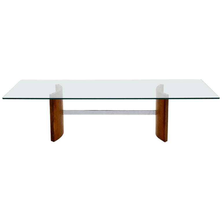 Walnut, Chrome and Glass Coffee Table by Vladimir Kagan for Selig, 1960s For Sale