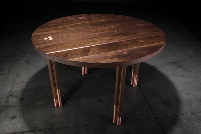 Organic Modern Walnut Circular Dining Table with Copper Inlay