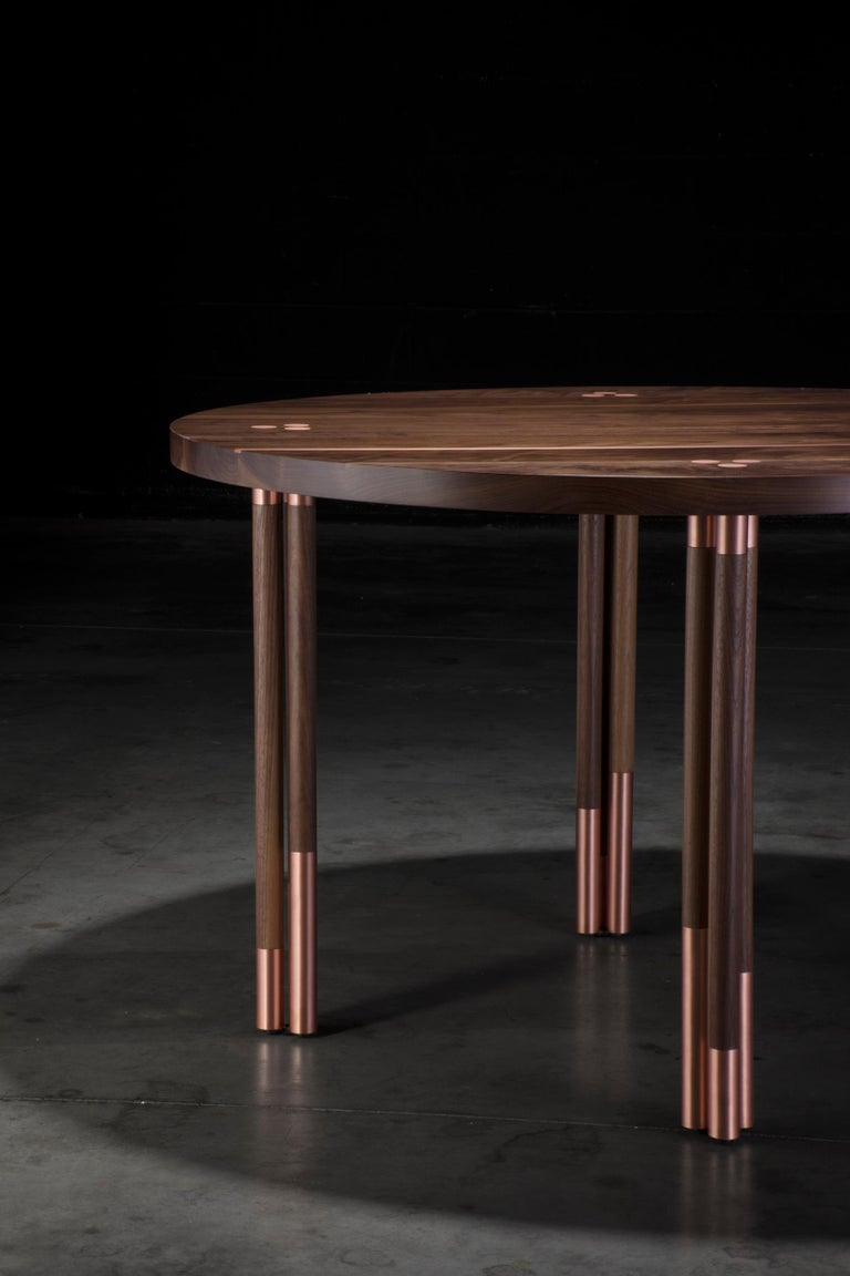 Walnut Circular Dining Table with Copper Inlay