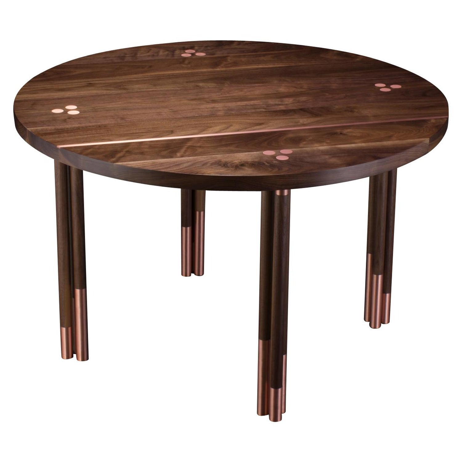 Walnut Circular Dining Table With Copper Inlay Canfield Dining Table For Sale At 1stdibs