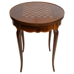 Walnut Circular Tric Trac Game Table with Fruitwood Inlay, Mid-19th Century
