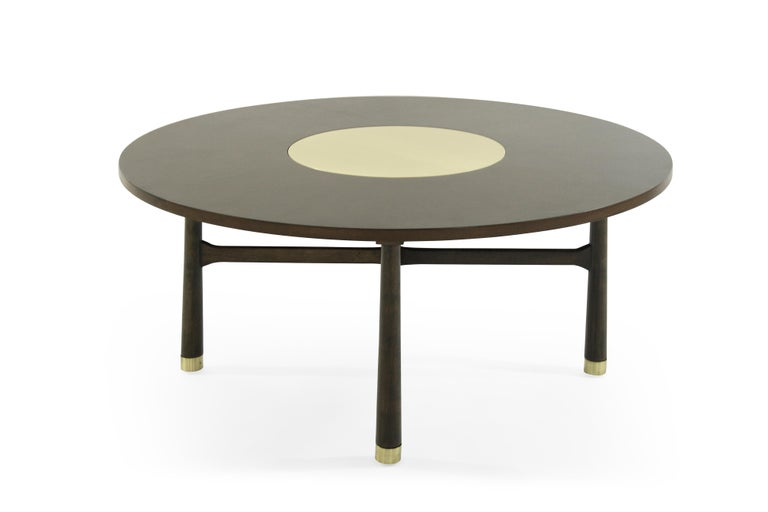 Mid-Century Modern Walnut Coffee Table with Brass Insert by Harvey Probber, 1950s For Sale