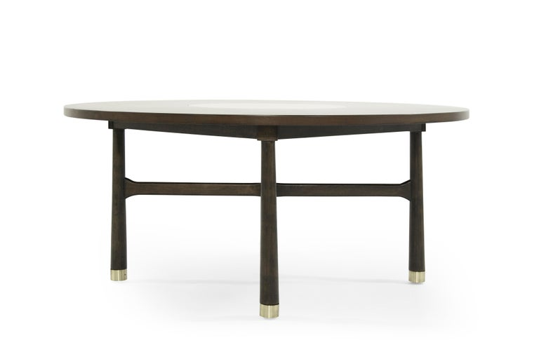 American Walnut Coffee Table with Brass Insert by Harvey Probber, 1950s For Sale