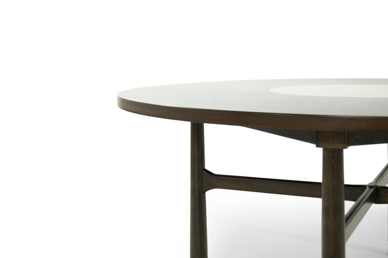 20th Century Walnut Coffee Table with Brass Insert by Harvey Probber, 1950s For Sale