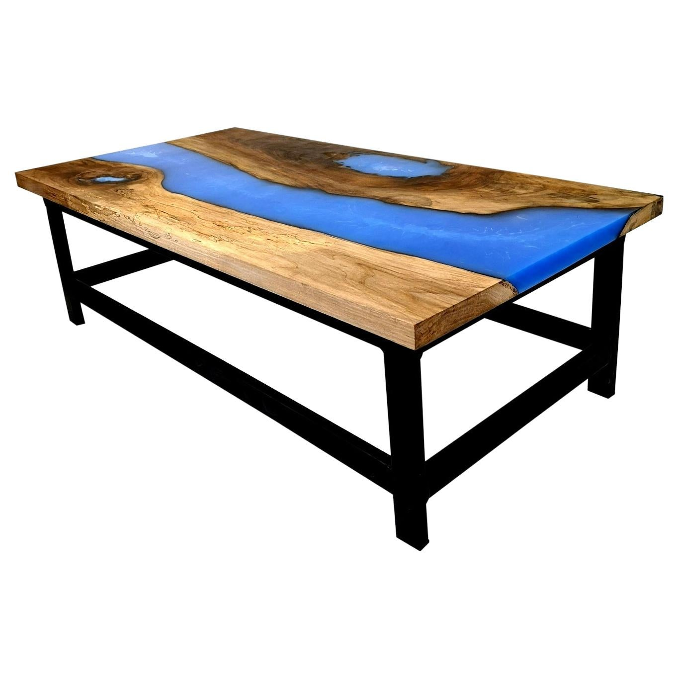 Walnut Coffee Table with Blue Epoxy Resin and Steel Legs