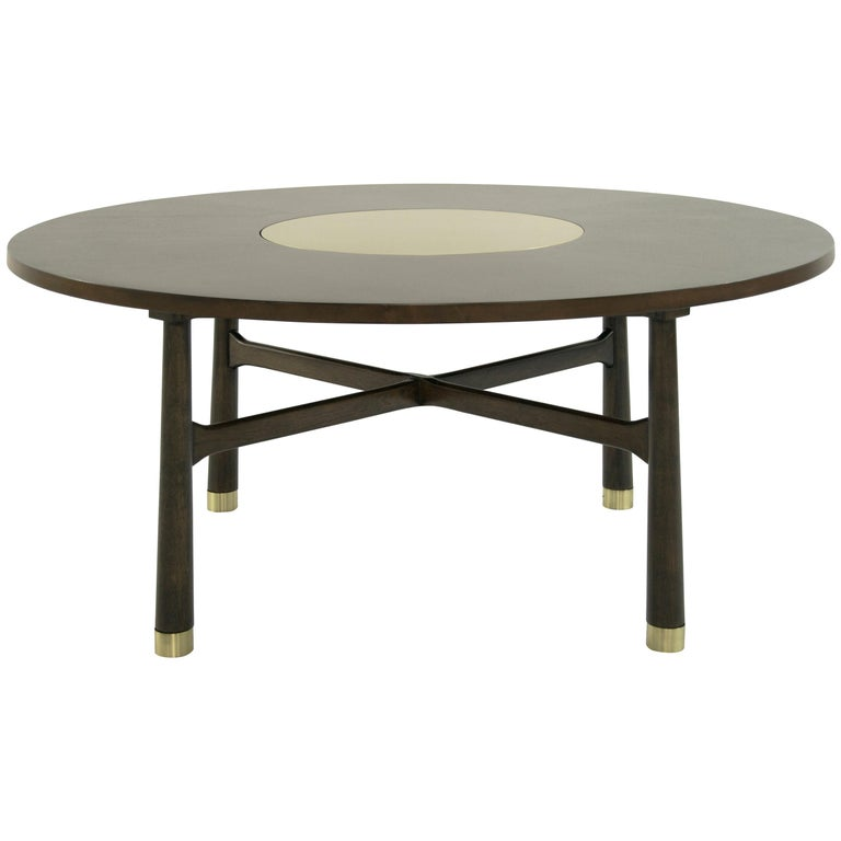 Walnut Coffee Table with Brass Insert by Harvey Probber, 1950s For Sale
