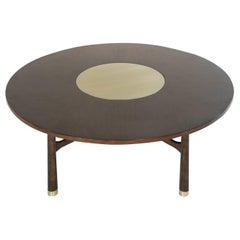 Walnut Coffee Table with Brass Insert by Harvey Probber, 1950s