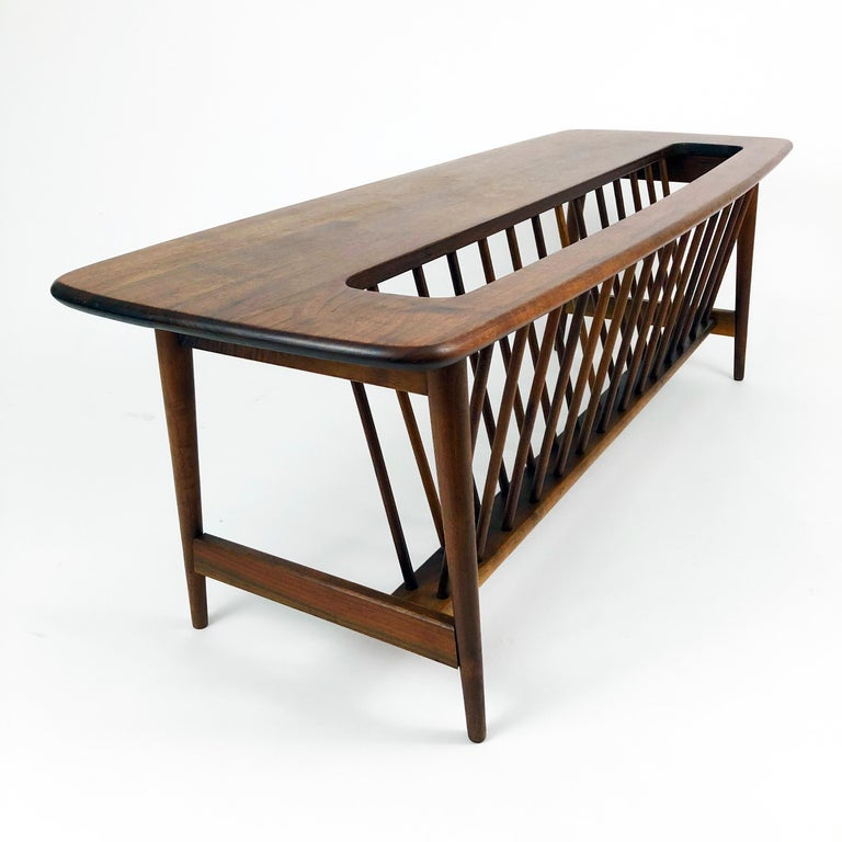 Mid-Century Modern Walnut Coffee Table with Magazine Rack by Arthur Umanoff For Sale