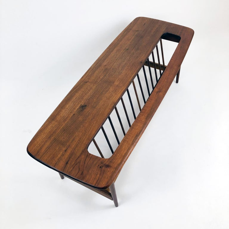Walnut Coffee Table with Magazine Rack by Arthur Umanoff In Good Condition For Sale In Denver, CO