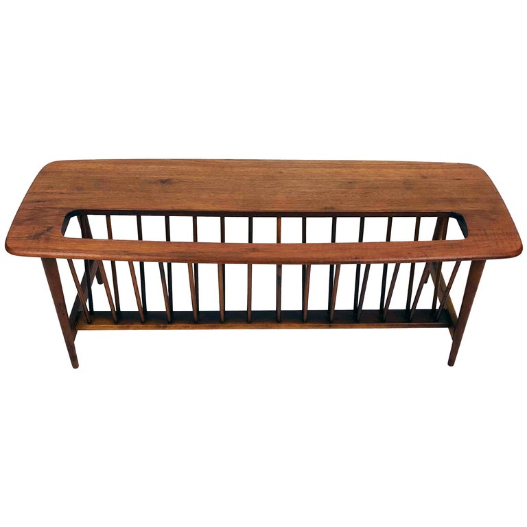Walnut Coffee Table with Magazine Rack by Arthur Umanoff For Sale