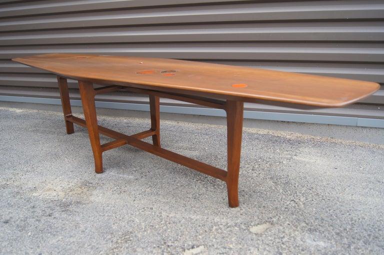 Ceramic Walnut Coffee Table with Natzler Tiles, Model 5632N by Edward Wormley for Dunbar For Sale