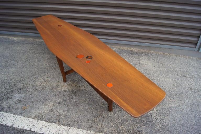 Walnut Coffee Table with Natzler Tiles, Model 5632N by Edward Wormley for Dunbar For Sale 1