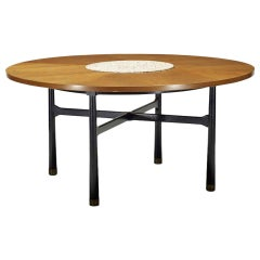Walnut Coffee Table with Stone Insert by Harvey Probber