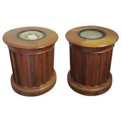 Walnut Compass Tables with Burled Walnut Slats