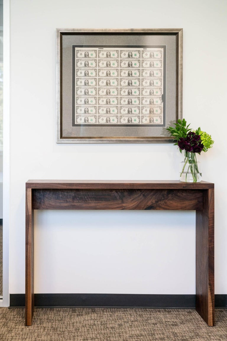 Rustic yet refined with seamless box joints, our walnut console table is handcrafted using beautiful Alabama urban timber. The table is made to order and can be custom sized for use in a foyer, hallway or as an end table. Alabama Sawyer welcomes a
