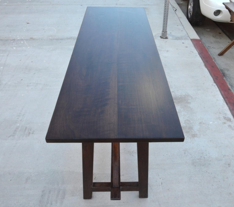Hand-Crafted Walnut Console Table For Sale