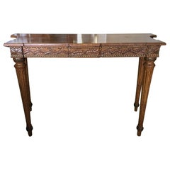 Walnut Console with a Carved Decorative Apron and Two Drawers, 20th Century
