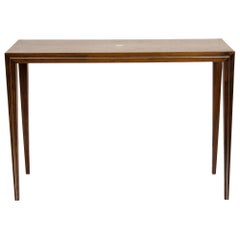 Walnut Console with Brass or Aluminum Inlay Detail
