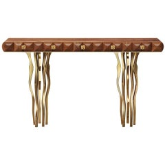 Walnut Console with Gold-Plated Brass Legs, in Stock in Los Angeles