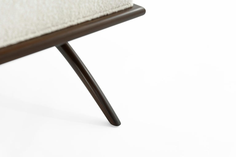 Walnut Convex Bench in Bouclé by Stamford Modern For Sale 4