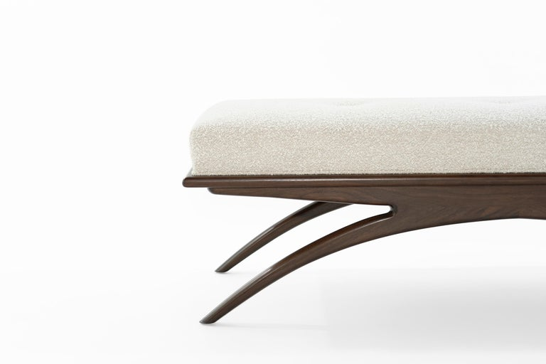 Walnut Convex Bench in Bouclé by Stamford Modern For Sale 5