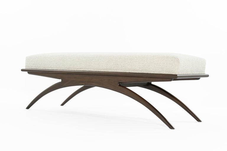 American Walnut Convex Bench in Bouclé by Stamford Modern For Sale