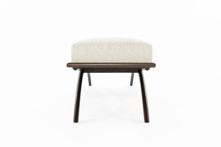 Contemporary Walnut Convex Bench in Bouclé by Stamford Modern For Sale