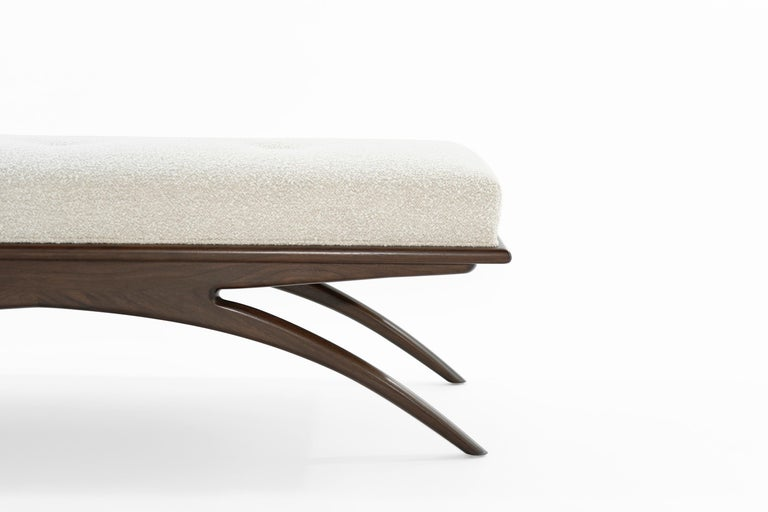 Walnut Convex Bench in Bouclé by Stamford Modern For Sale 1
