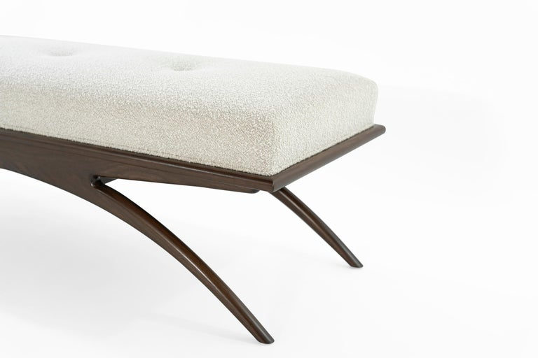 Walnut Convex Bench in Bouclé by Stamford Modern For Sale 2