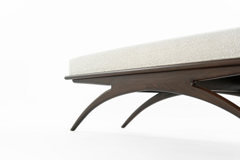 Walnut Convex Bench in Bouclé by Stamford Modern For Sale 3