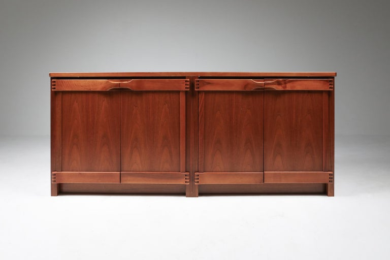 Pierre Chapo style sideboard in walnut by Franz Xaver Sproll, 1960s.