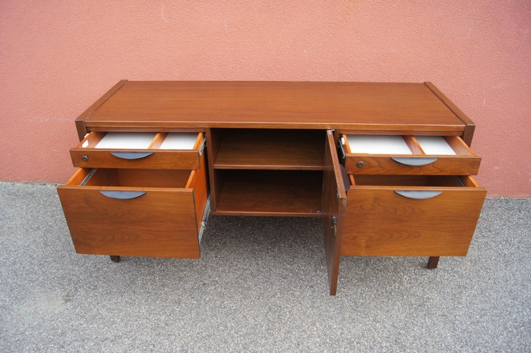 American Mid-century Walnut Credenza by Jens Risom For Sale
