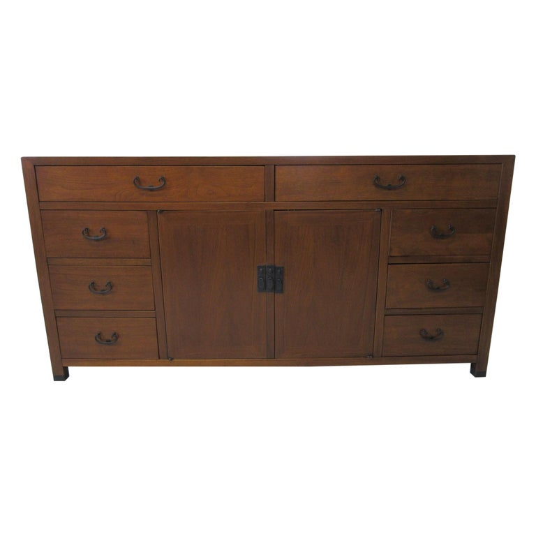 Walnut Credenza / Cabinet by American of Martinsville For Sale