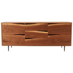 Walnut Credenza with Natural Edged Drawer-Fronts and Turned Bronze Legs