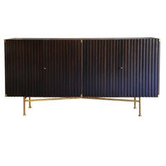 Walnut Credenza with Slatted Doors and Brass Details, France, Late 1950s
