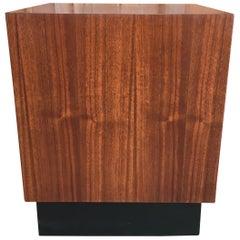 Walnut Cube with Black Plinth