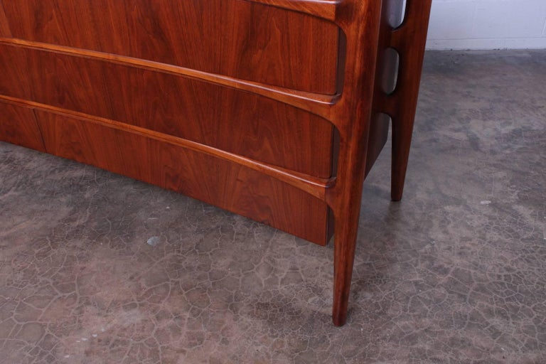 Walnut Curved Front Dresser Designed by William Hinn For Sale 6
