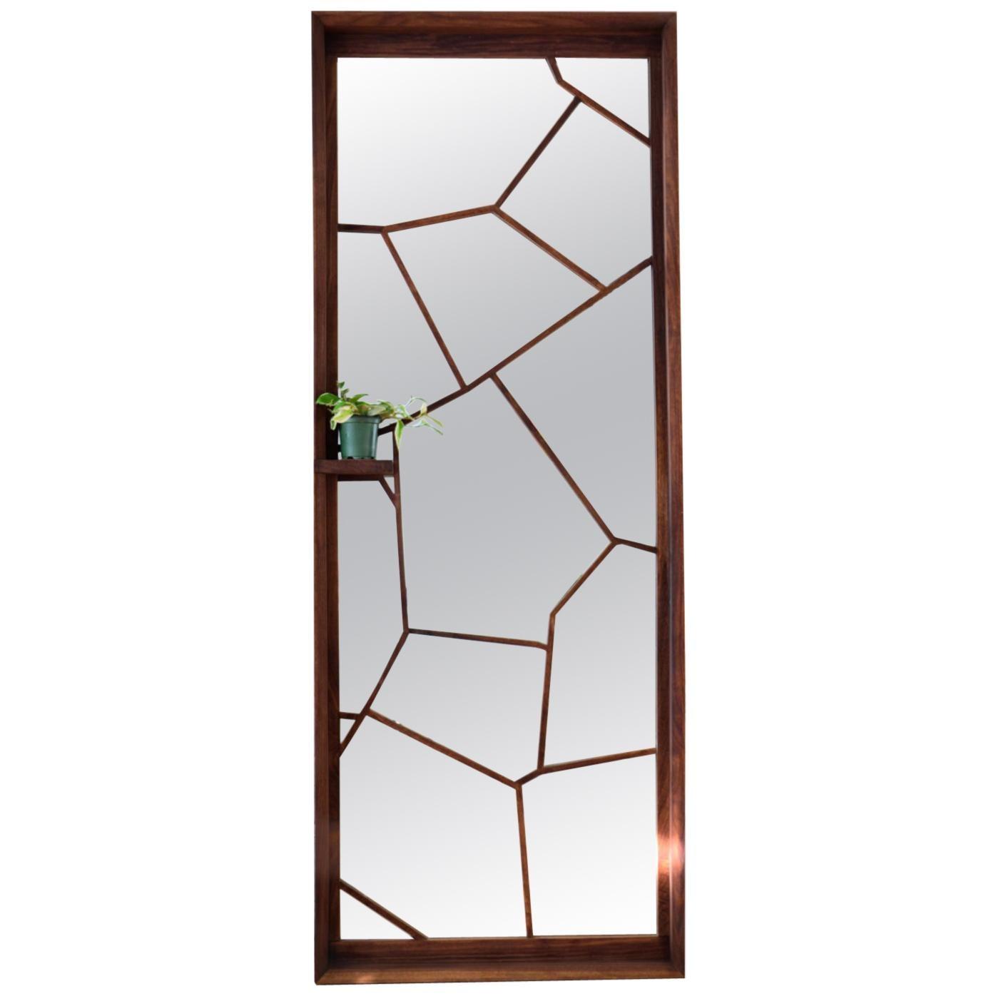 Walnut Custom Handmade Large Format Shattered Mirror