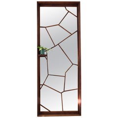 Walnut Custom Handmade Large Format Shattered Mirror