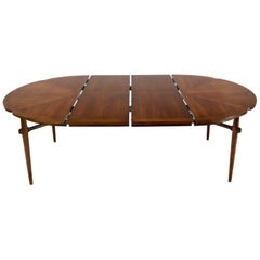 Walnut Daisy Shape Top Dining Table with Two Extension Boards Leaves