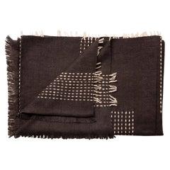 Walnut Dark Brown Handloom King Size Bedspread Handspun Yak,Stripes Pattern