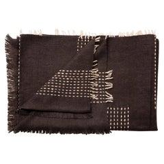 Walnut Dark Brown Handloom Queen Size Bedspread Handspun Yak,Stripes Pattern