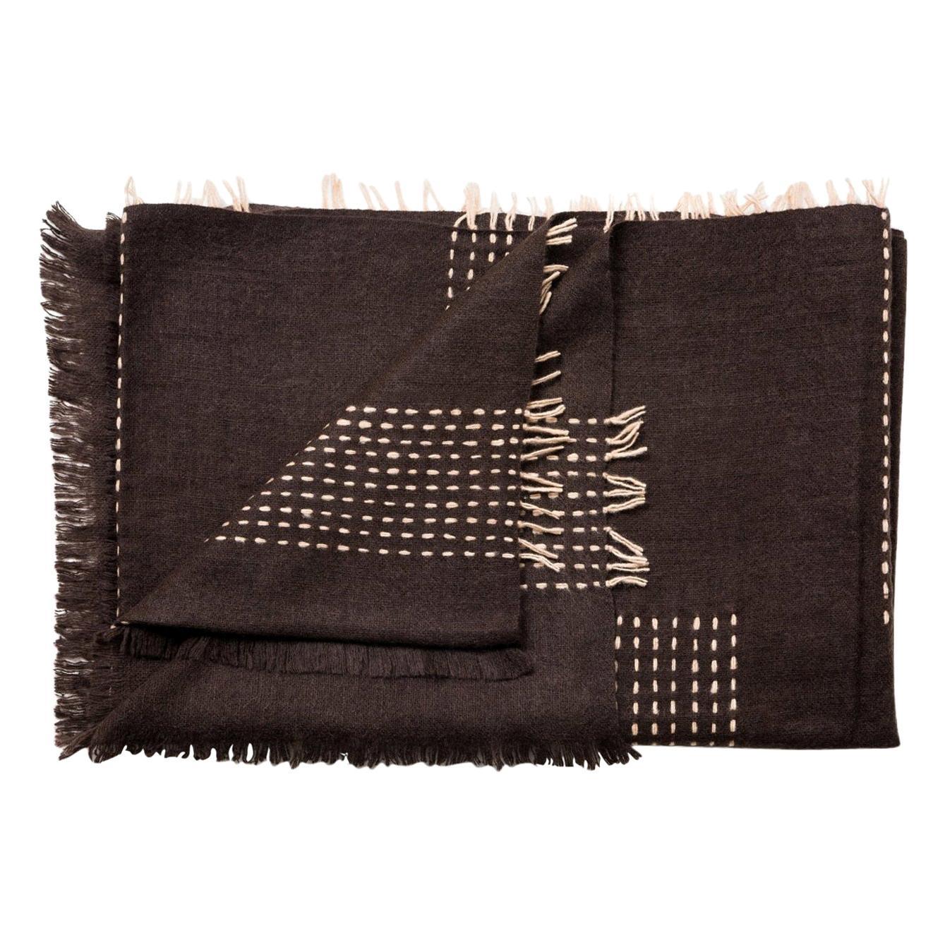 Walnut Dark Brown Handloom Throw / Blanket in Handspun Yak & Stripes Pattern