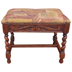 French Walnut Decorative Carved Upholstered Stool with Barley Twist Legs, C 1850