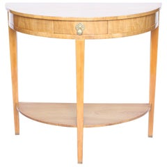 Art Deco Walnut Demilune Console Table